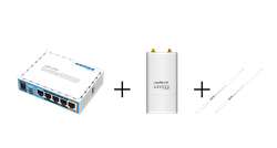 Picture of MikroTik hAP ac lite + Ubiquiti Rocket M2 WiFi Extender Set pre-configured + manual (DE)