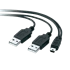 Picture of USB 2.0 Y-Kabel - USB-A-Stecker zu USB-A-Stecker und Mini-USB-Stecker, 9,5Meter, Picture 1